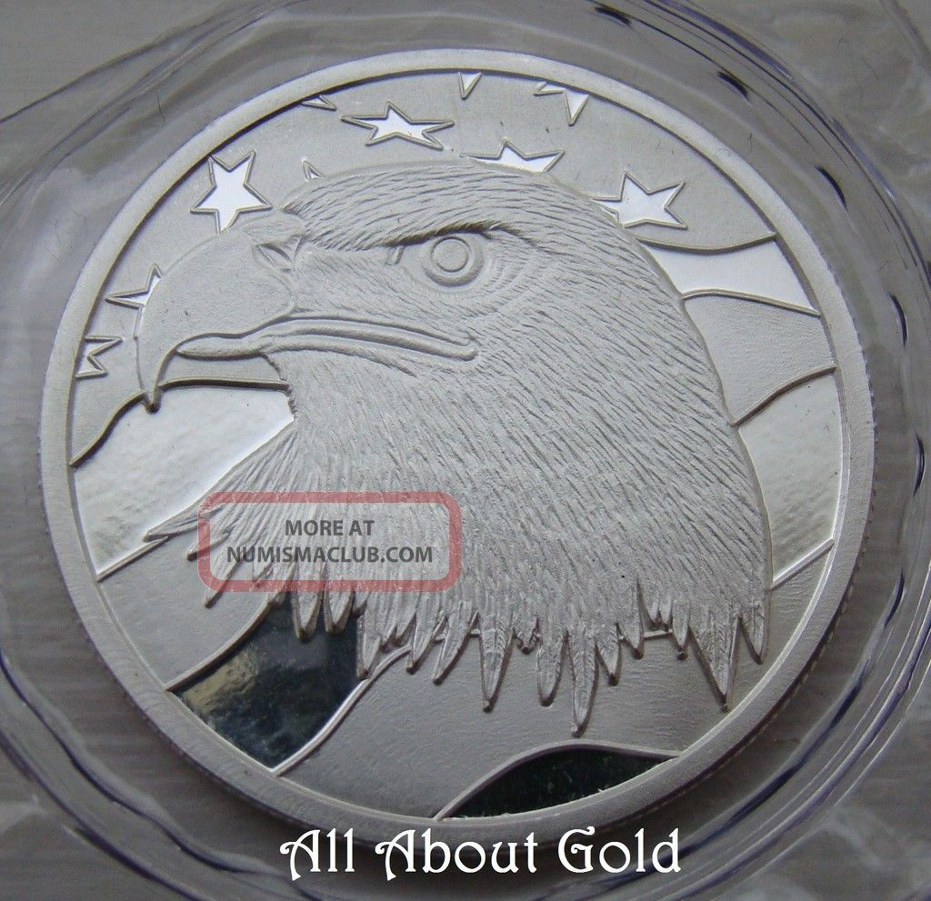Solid Silver Round 1 Troy Oz Bald Eagle American Flag
