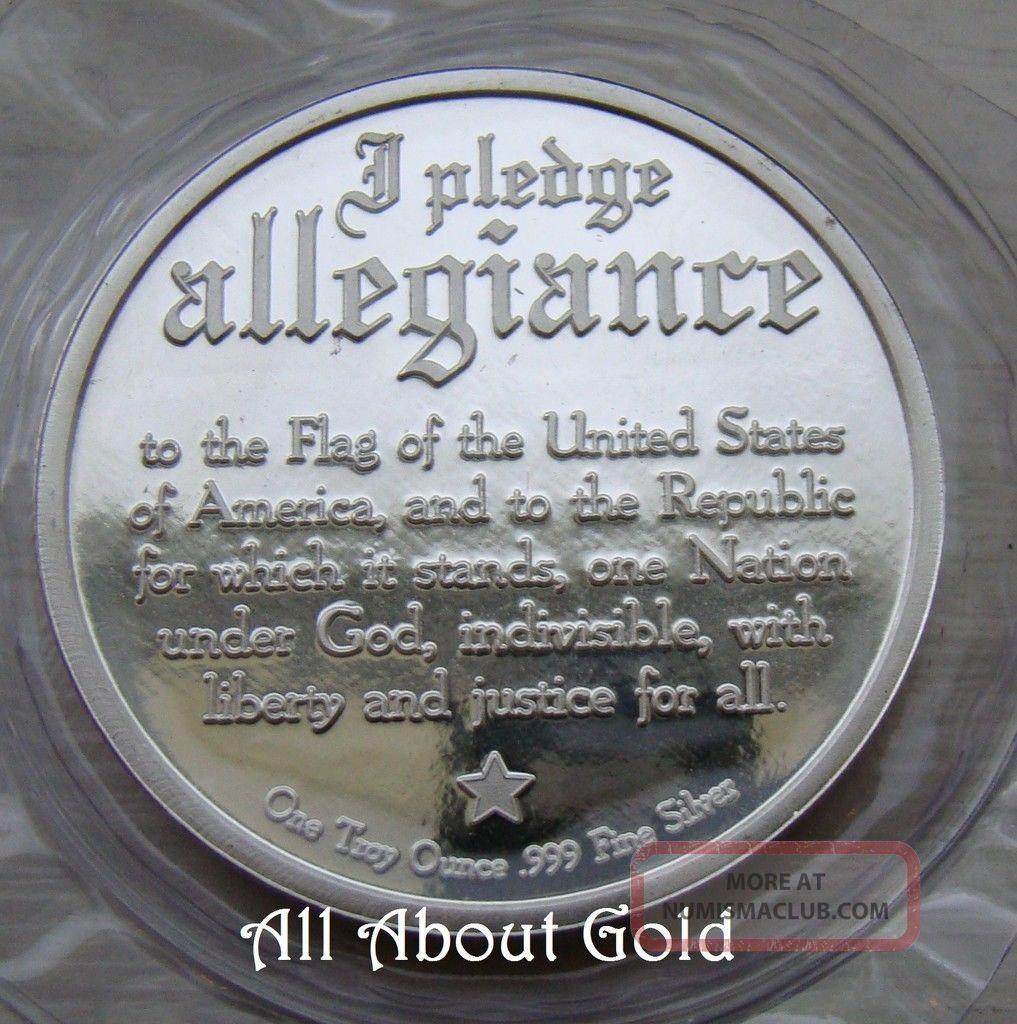 Solid Silver Round 1 Troy Oz Bald Eagle American Flag
