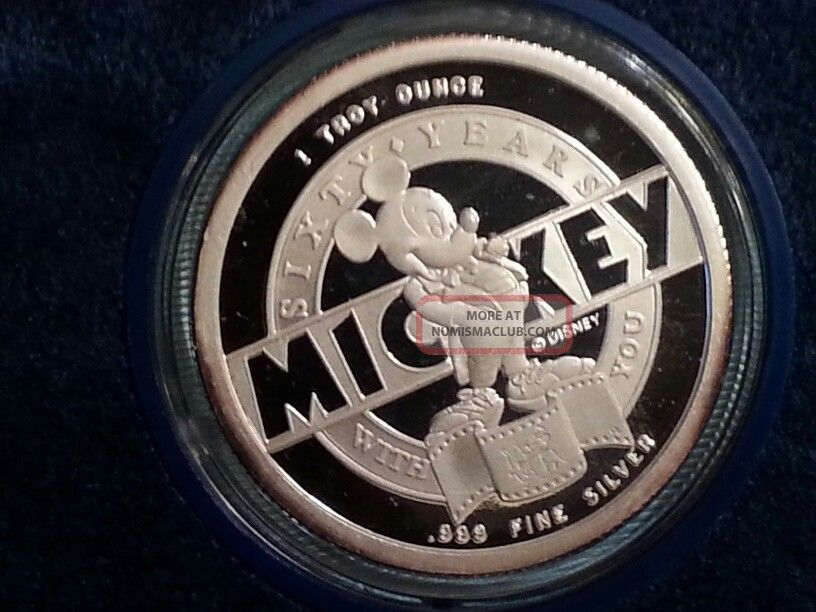 1988 Mickey Mouse 1 Troy Oz Fine Silver 60th Anniversary