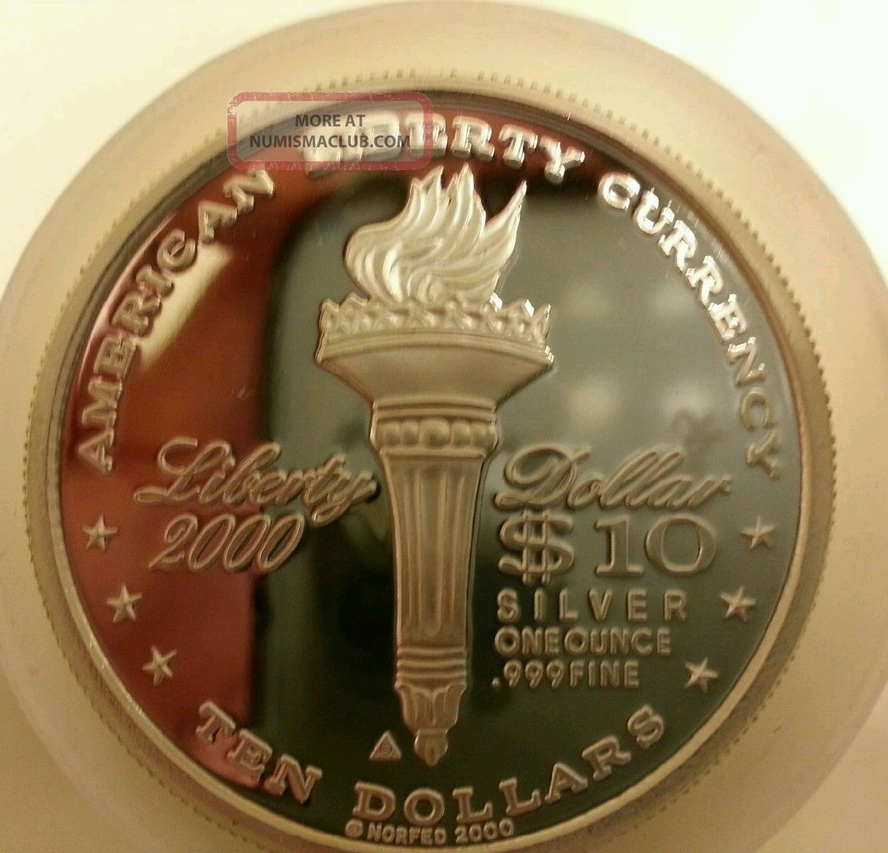 2000 Liberty Norfed 10 1 Ounce 999 Silver Bullion Round