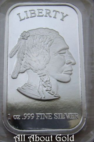 Solid Silver Bar 1 Troy Oz Silvertowne 999 Fine Buffalo