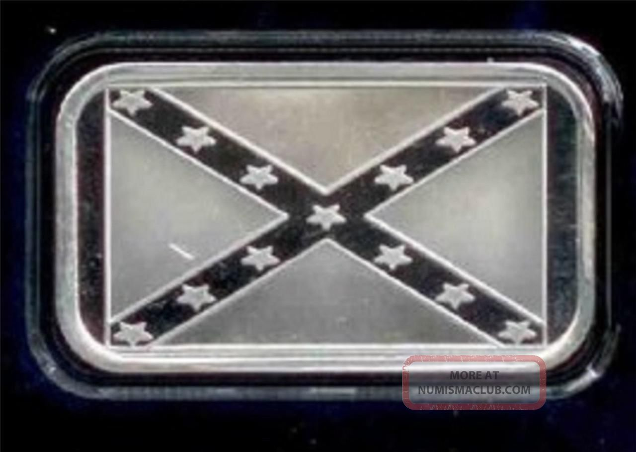 Rebel Flag 1oz 999 Fine Silver Art Bar By Silvertowne