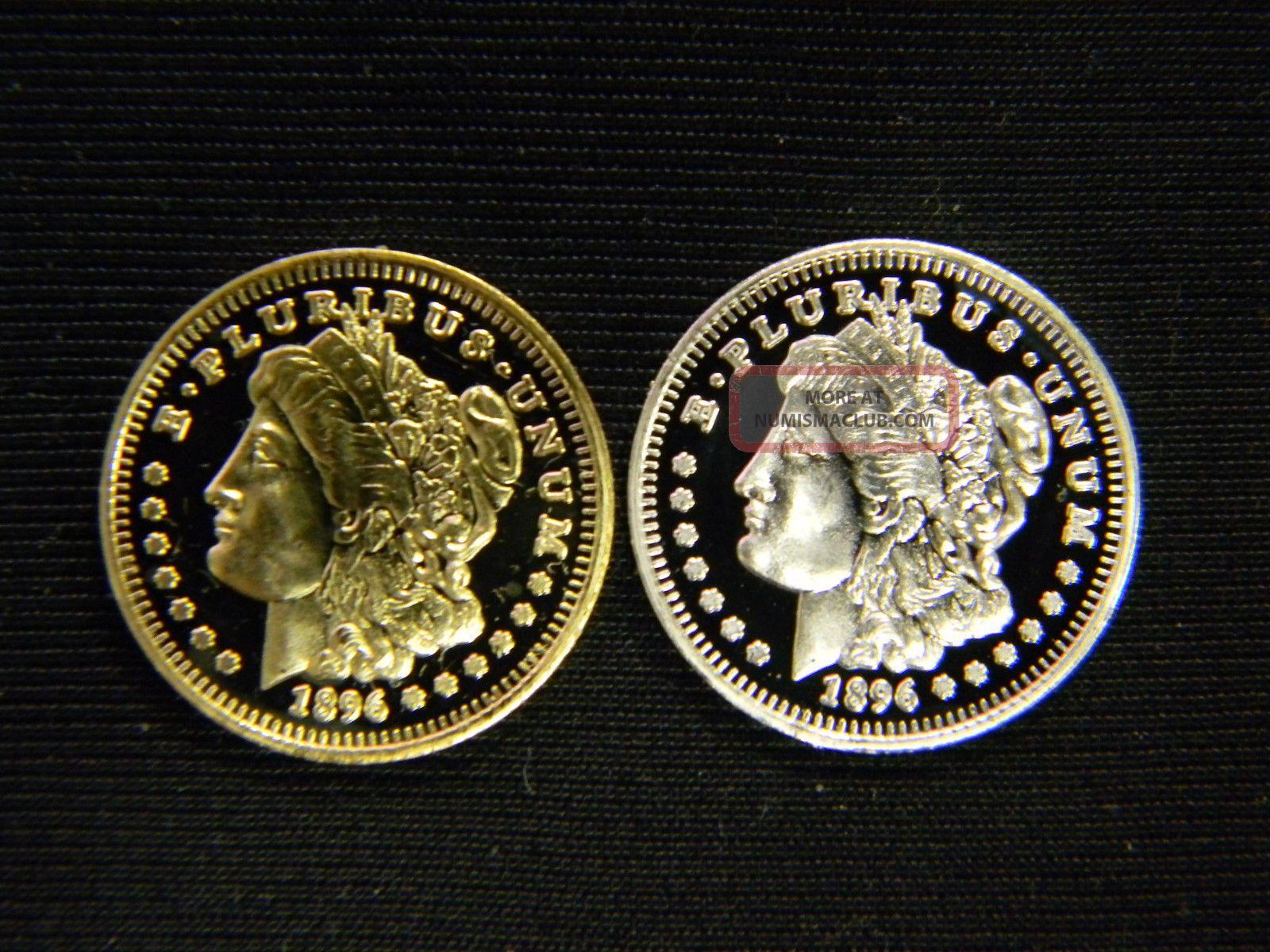 Two (2) 1 Gram Pure 999 Fine Solid Silver + 24k Gold Morgan Dollar Bullion Rnd Silver photo