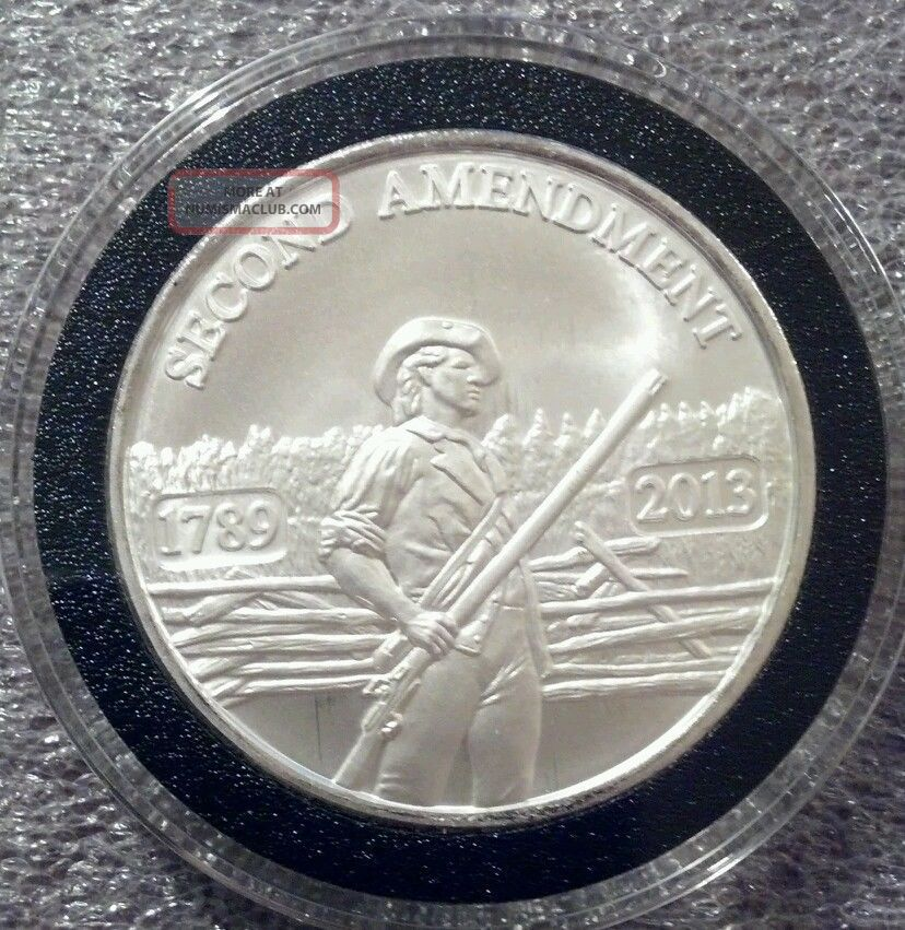 1 Oz 999 Silver 2nd Amendment Coin Ar15 Ak47 Molon Labe