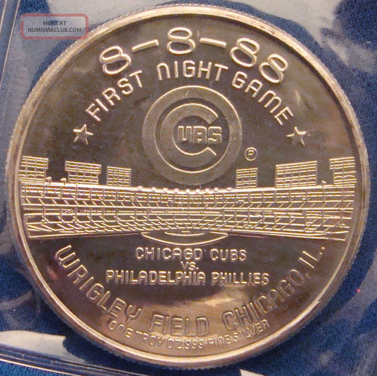 1988 Chicago Wrigley Field First Night Game 1 Oz Of 999