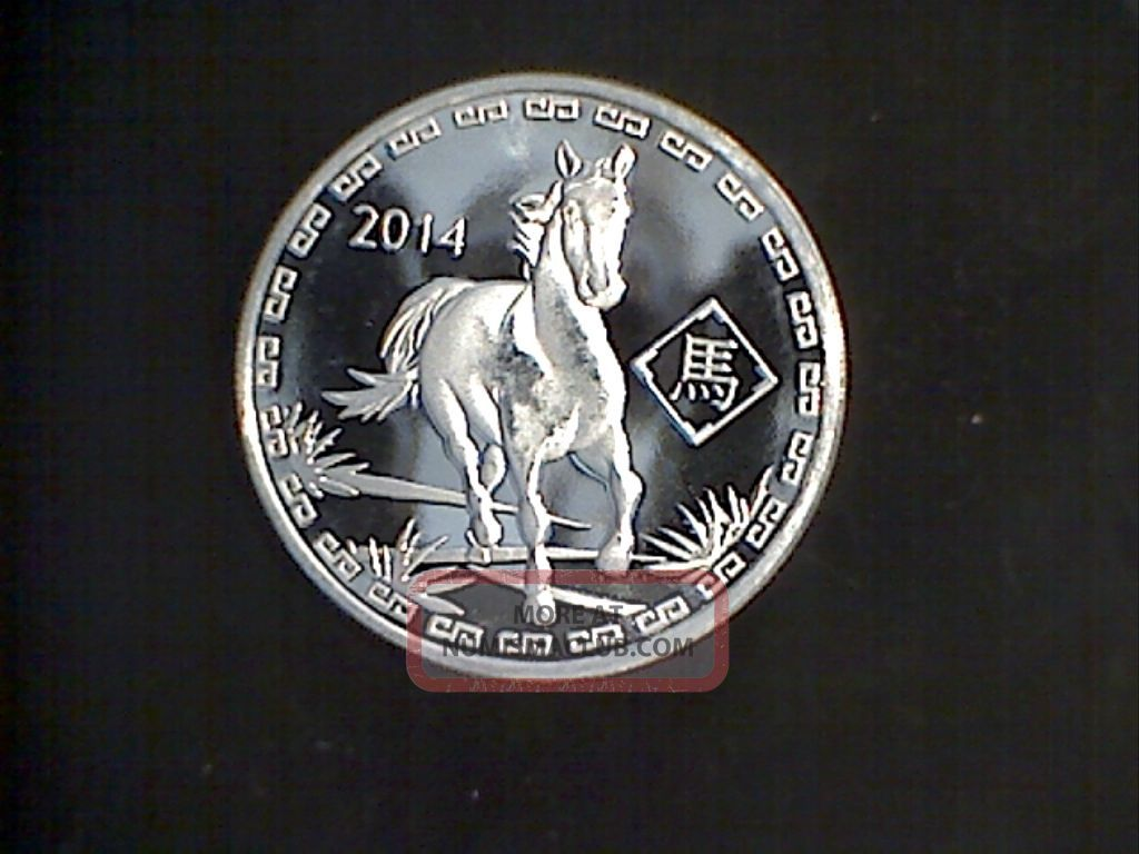 2014 Year Of The Horse 1 Troy Oz 999 Fine Silver Round