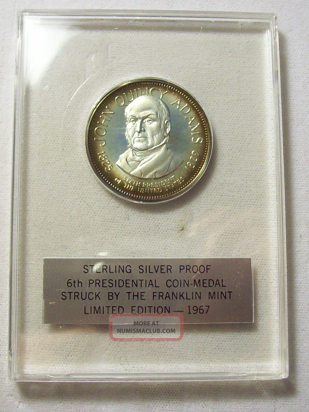 ☛1967 Sterling Silver Presidential Coin Medal John Quincy
