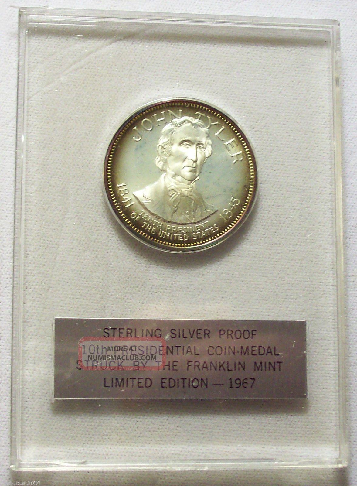 ☛1967 Sterling Silver Presidential Coin Medal John Tyler