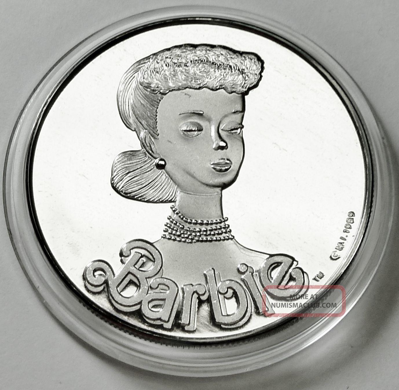 Barbie 30th Anniversary 1 Troy Oz 999 Fine Silver Coin