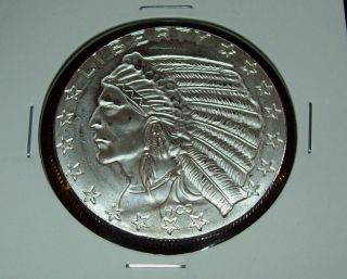 Sunken Relief Indian Head Eagle 1 Troy Oz 999 Fine
