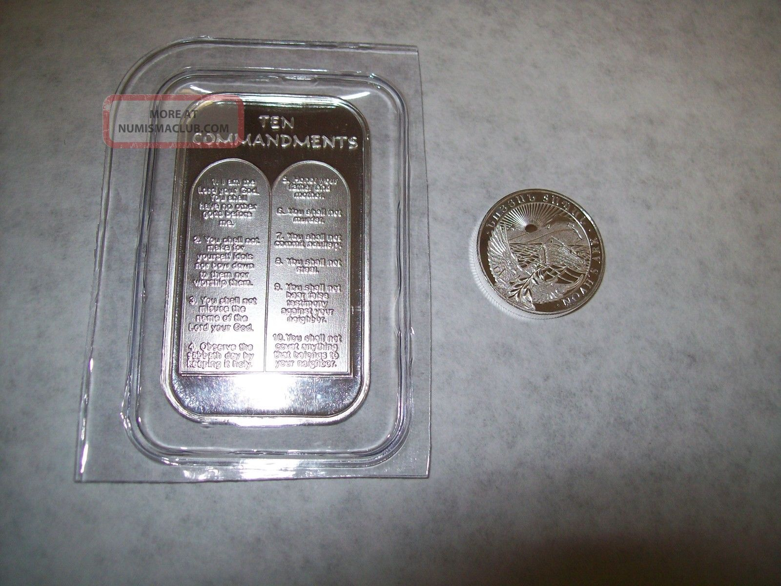 1oz Ten 10 Commandments 999 Pure Silver Bar Bible Money