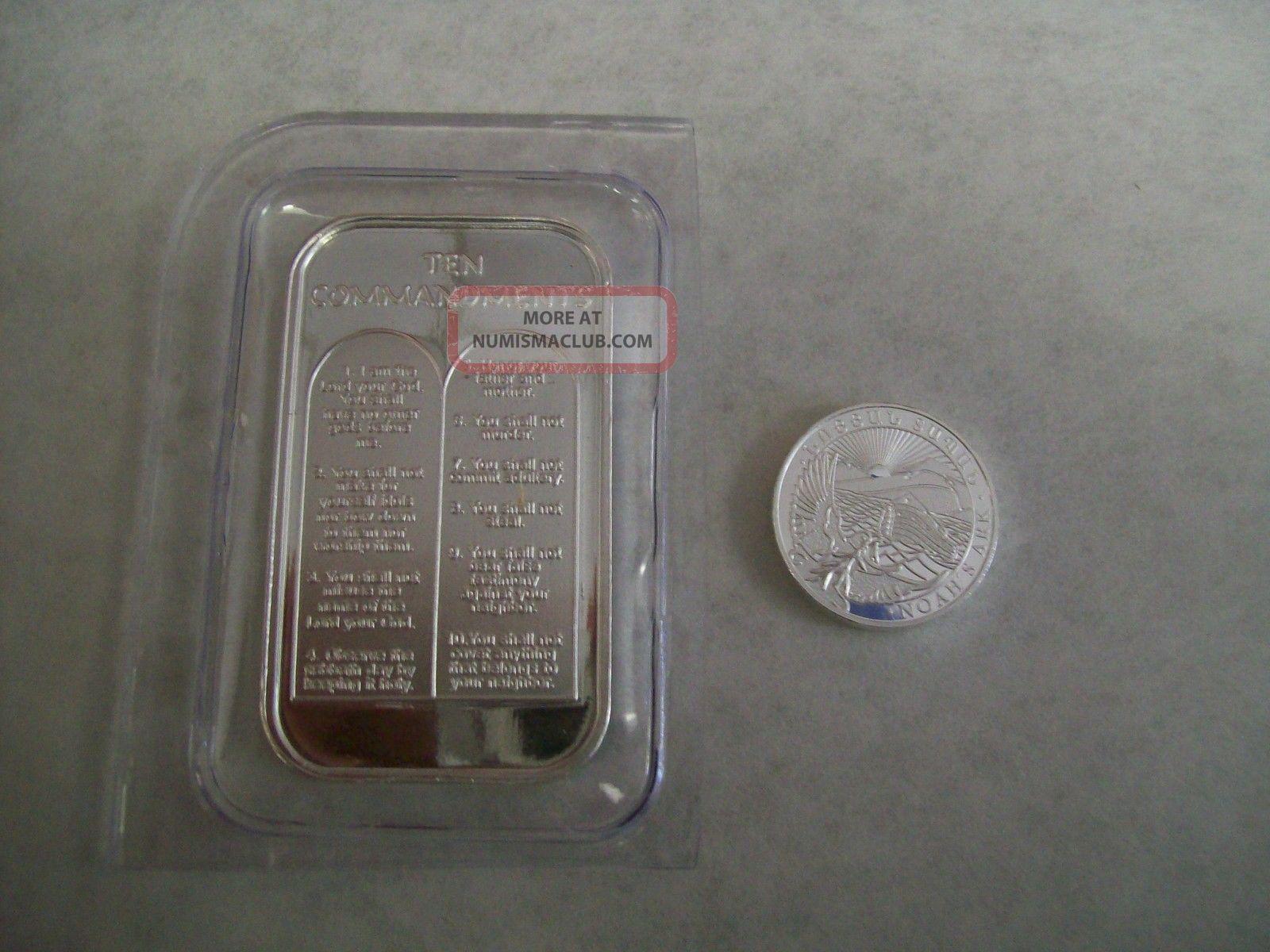 1oz Ten 10 Commandments 999 Pure Silver Bar Bible Money