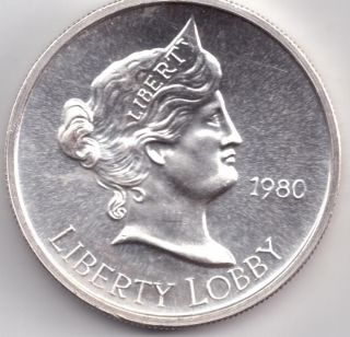 1980 Liberty Lobby One Silver Eagle 999 Pure 1 Troy