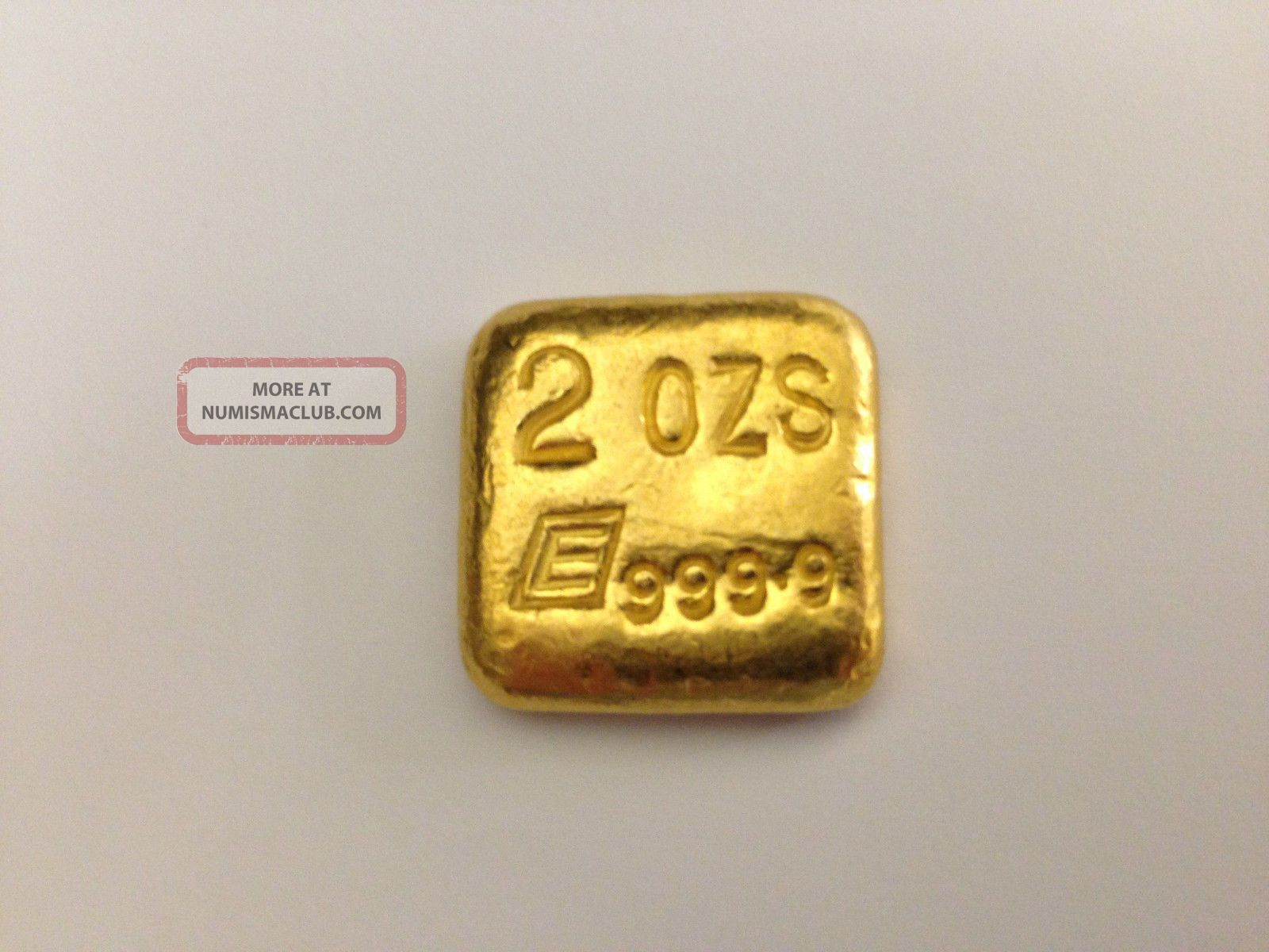 Old Poured Square Style 2 Ozt Engelhard Gold Bar 999