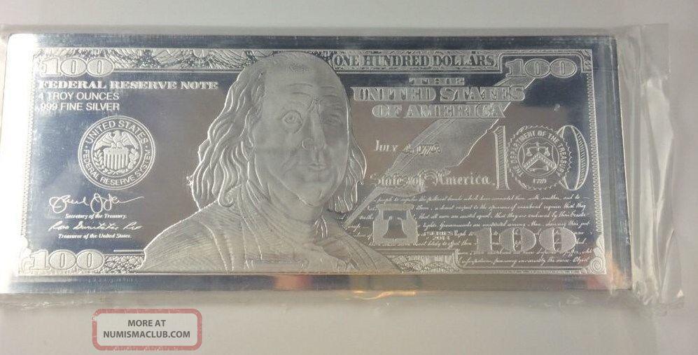 2014 4 Oz 100 Franklin Bill Dated Proof 999 Fine