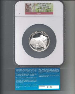 2012p P Australian 5 Oz Silver Proof Koala Graded By Ngc Pf70 Uc Early Release photo
