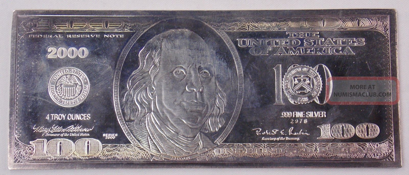 2000 100 Dollar Bill 4 Oz 999 Fine Silver Proof Bar