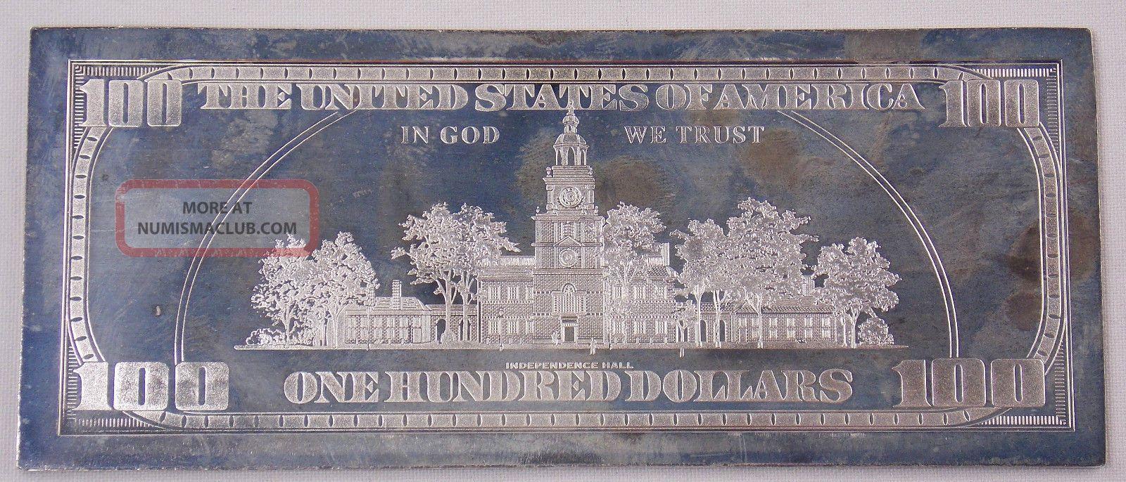 2000 100 Dollar Bill 4 Oz 999 Fine Silver Proof Bar