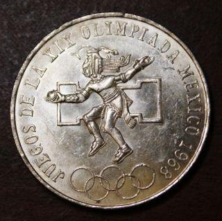 Mexico 1968 25 Pesos Silver Olympic Coin photo