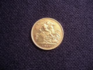 1910 (s) Gold Half Sovereign Australian photo