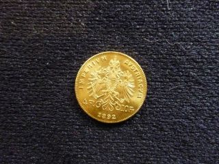 1892 Gold Austria 4 Florin - 10 Francs Imperivm Avstriacvm (0.  9000 Gold) photo