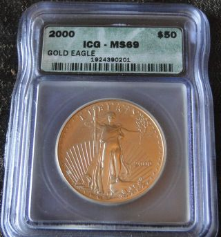 2000 $50 Gold American Eagle Icg Ms69 photo
