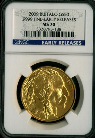 2009 American Buffalo One Ounce Gold Coin $50 Ngc Ms70 Early Release photo