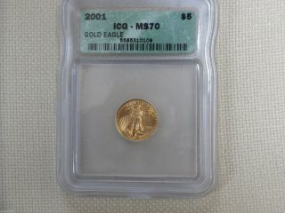 2001 $5 American Gold Eagle Ms70/icg photo