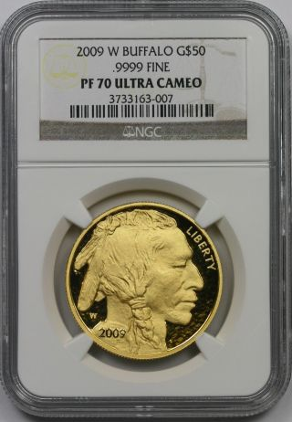 2009 - W American Buffalo Gold $50 One - Ounce Pf 70 Ultra Cameo Ngc.  9999 Fine photo