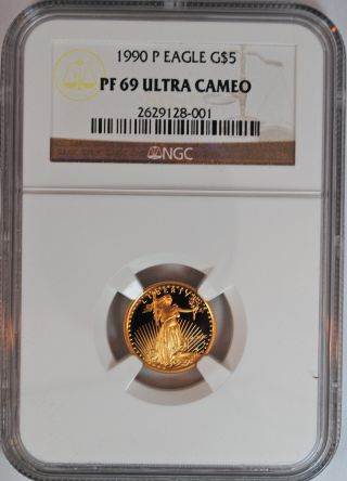 1990 P $5 American Gold Eagle,  Rare Ngc Pf 69,  1/10th Proof photo