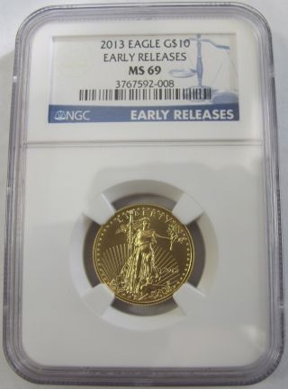 2013 $10 American Eagle 1/4 Fine Gold Coin - Ngc Ms - 69 photo