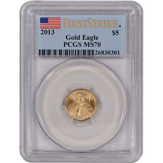 2013 American Gold Eagle (1/10 Oz) $5 - Pcgs Ms70 - First Strike photo