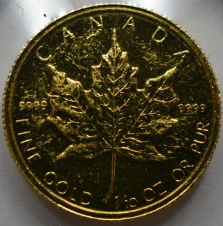 1984 Canadian 1/10 Oz Gold Maple Leaf -.  9999 Fine Gold - photo