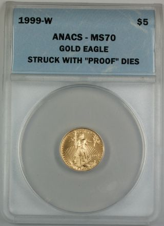 1999 - W $5 American Gold Eagle,  Anacs Ms - 70,  Emergency Issue, photo