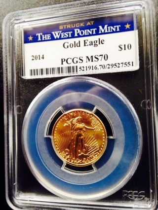 2014 1/4 Oz.  American Eagle $10 Gold Coin Pcgs Ms70 - West Point Label Perfect photo