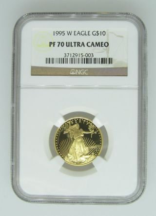 1995 - W Ngc Pf70 Proof Gold Eagle - Quarter Ounce Gold (1/4 Ozt) - $10 Ucam photo