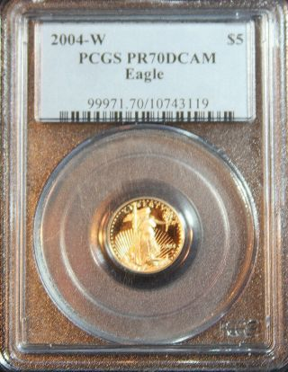 2004 - W $5 Gold Eagle Pcgs Pr70dcam Perfect Grade - Rare photo