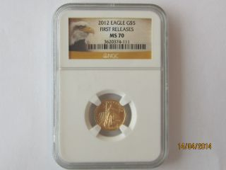 Ngc Ms 70 - 2012 $5.  00 American Eagle Marked 1/10th Oz.  Fine Gold - Five Dollars photo
