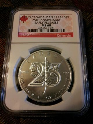 2013 Early Release Ms - 68 25th Anniversarysilver Maple Leaf Low Population 497 photo