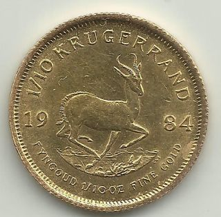 1984 South Africa 1/10th Ounce Fine Gold Krugerrand photo