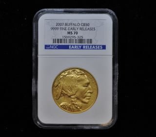 2007 American Buffalo 1 Oz 24kt Pure.  9999 Gold $50 Ngc Ms70 Early Release photo