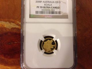 2008 P Australia 1/10 Oz Proof Gold Koala Ngc Pf70 Ultra Cameo $15 photo