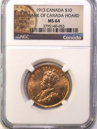 1913 $10 Gold Canada Hoard Coin Great Investment Rare Ngc Ms 64 photo