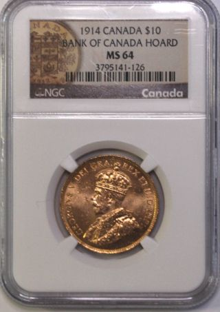 1914 $10 Gold Canada Hoard Coin Great Investment Rare Ngc Ms 64 photo