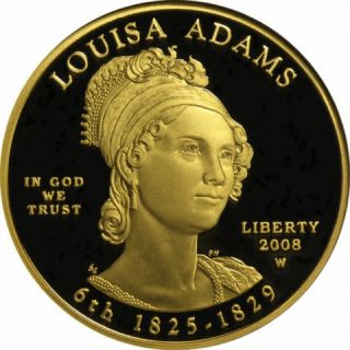 2008 - W Proof $10dollar Louisa Adams Presidential First Spouse Coin Gold1/2oz Ogp photo