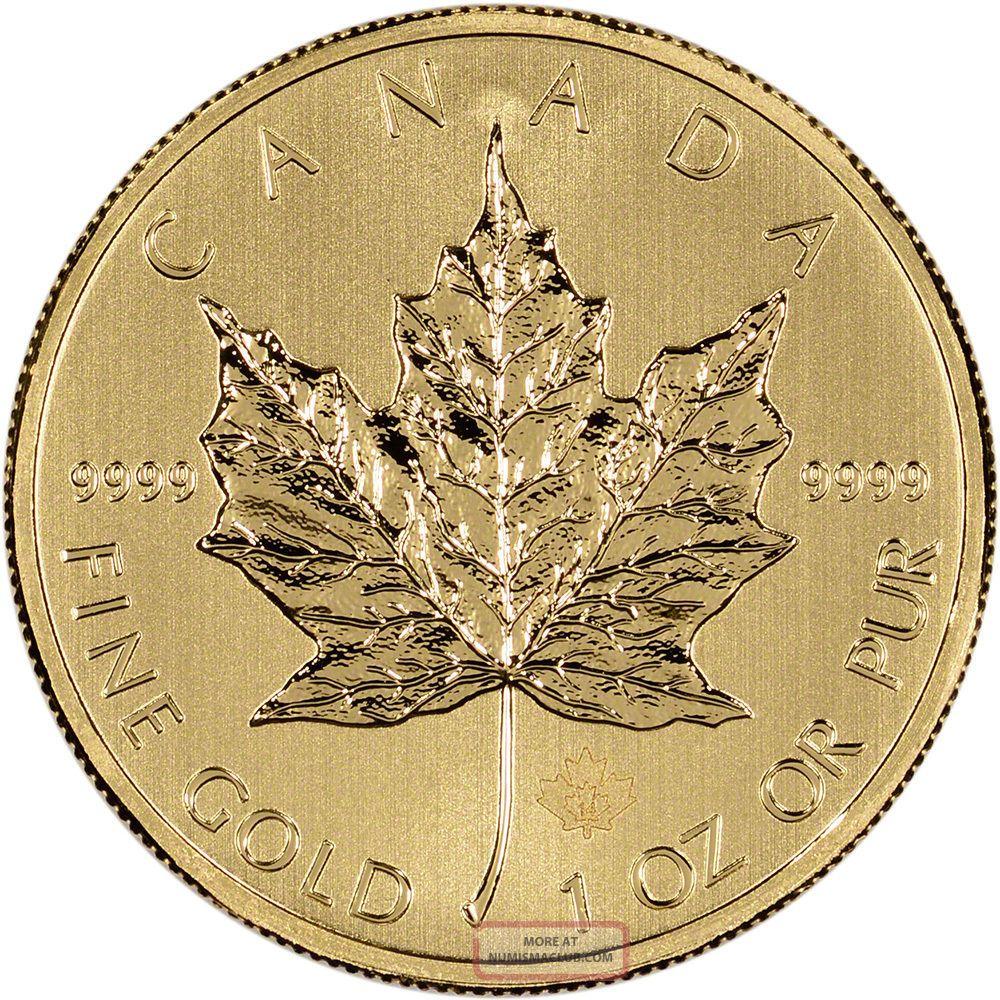 2014 Canadian Gold (1 Oz) Maple Leaf $50 - Bu Gold photo