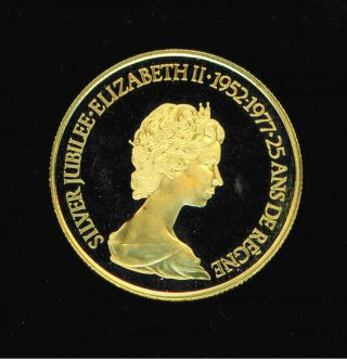 Gold Queen Elizabeth 1/2 Oz Silver Jubilee $100 Coin Commemorative 1952 1977 photo