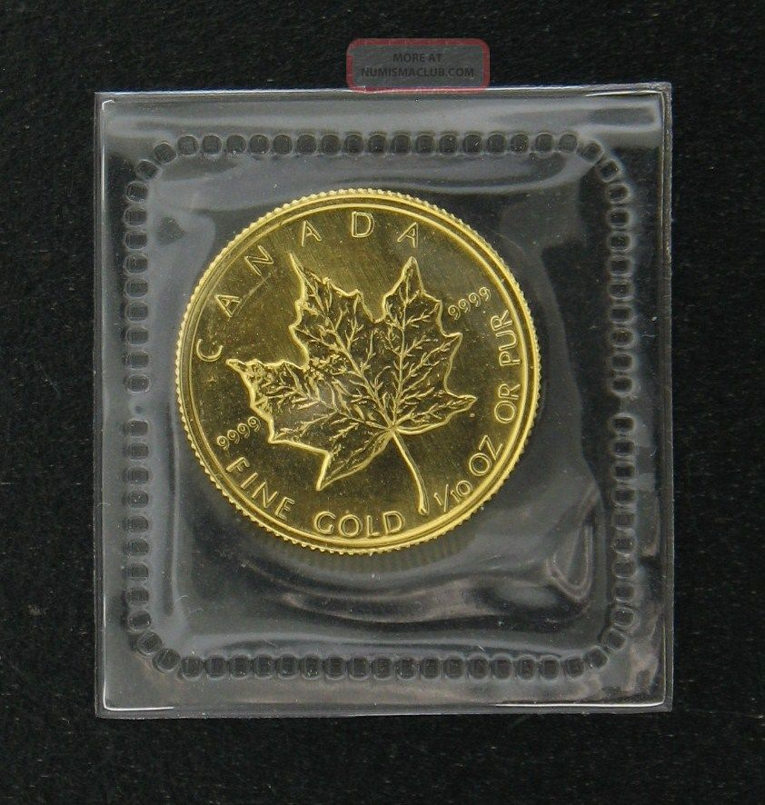 1982 5 Canadian Maple Leaf Gold Bullion Coin 1 10 Ounce Uncirculated In Plastic