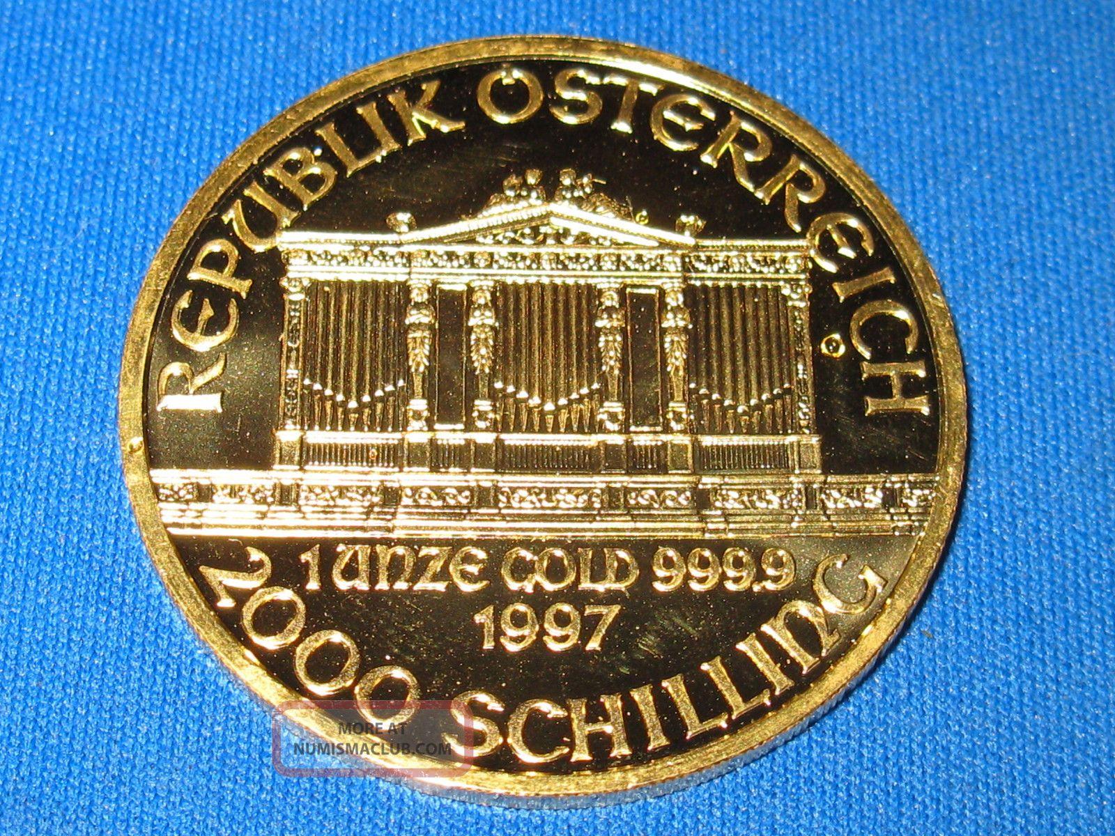 1997 Austrian Philharmonic 1 Oz Gold Coin.  9999 Pure (brilliant Uncirculated) Gold photo