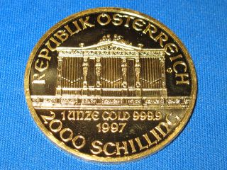 1997 Austrian Philharmonic 1 Oz Gold Coin.  9999 Pure (brilliant Uncirculated) photo
